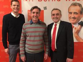 Bernd Bredendiek mit Landratskandidat Dr. Bernd Weber und SPD Kreisvorstand. Sven John